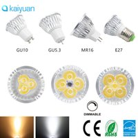 Wholesale Led Mr16 Dc 3w - Dimmable LED Spotlight CREE Lamp 3W 4W 5W GU10 MR16 E27 E14 GU5.3 B22 Led spot Light 85-265v dc 12v bulbs downlight lighting