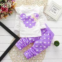 Wholesale Tracksuits Tshirts Boys Sets - Wholesale- 2016 spring kids clothes Minnie toddler Clothing Suits Clothes Baby Kids Cartoon tracksuits TShirts Hoody Dot Pants Children Set