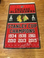 Wholesale print pin X5FT Chicago Blackhawks flag NHL StanleyCup Champions Banner Digital Printing print pin
