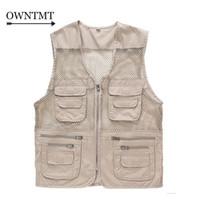 Wholesale Multi Pockets Vests - Wholesale- Summer Men's Mesh Vests Multi-pockets Director Reporter Vests Quick Dry Sleeveless Jacket Photography Cameraman Travels Clothing