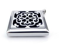Wholesale Magnetic Figures - With Chain as gift!! Square Silver Figure (30mm) Magnetic Aromatherapy   Essential Oils Magnetic Stainless Steel Diffuser Locket Necklace