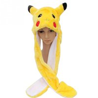 Pikachu Cartoon Plush Animal Faux Fur Full Hood Kids Hat Femme Costume d'enfant Beanie avec foulard Long Mitaines Gants Earmuffs