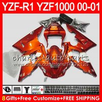 Wholesale R1 Orange Fairings - Bodywork For YAMAHA YZF1000 YZFR1 00 01 98 99 YZF-R1000 Body 74NO9 Orange white YZF 1000 R 1 YZF-R1 YZF R1 2000 2001 1998 1999 Fairing Kit