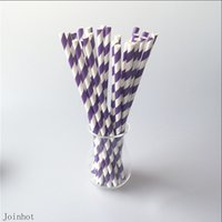Wholesale Paper Straws Purple - Wholesale-Free Shipping 25pcs lot Purple Striped paper drinking straws creative drinking straw Decorations For Wedding