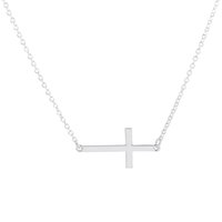 Wholesale Sideways Crosses Necklace - Wholesale-2016 Top Selling Min 1pc-Gold and silver Sideways Cross Necklace, dainty cross pendant necklace EY-N035
