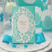 Wholesale Invitation Blue Flower - Wishmade Cardstock Craft Blue Hollow Flower Wedding Invitations Card Elegant Dinner Party Greeting Paper with Envelopes CW002