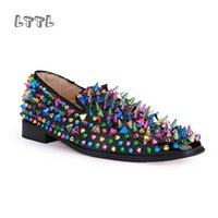 Wholesale Footwear Colorful Shoes - LTTL Dandelion Spikes Flat Black Patent Leather luxury brandMen Shoes Men Colorful Rivet Black Loafers Runway Prom Footwear