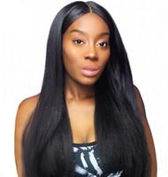 dantel önleri hafif yaki toptan satış-Brezilyalı İnsan Saç Işık Yaki Dantel Ön Peruk Tutkalsız Tam Dantel Peruk Siyah Kadınlar için 8-28 inç FDSHINE