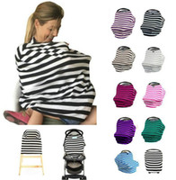 Wholesale Nursing Cover Design - 2017 New Design Multi-Use Stretchy Cotton Baby Nursing Breastfeeding Privacy Cover Scarf Blanket Stripe Infinity Scarf Baby Car Seat Cover