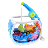Wholesale ocean games - Wholesale- MAMMA Teaching Educational Baby's Soft Ocean Fishing Toys Set Soothing Cloth Catch & Count Fishing Game Sound Toy for Children
