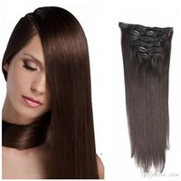 "Wholesale European Hair Clips Remy - 20"" 22"" 24"" 26"" Full Head thickest 120g Remy Clip in Human hair extensions #2 Dark Brown Brazilian virgin hair straight 7pcs set"