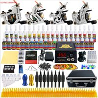 Wholesale Complete Supplies - Solong Tattoo Complete Tattoo Kit 4 Machine Guns 54 Inks Power Box Carry Case for Shader and Liner Tattoo Supply Set TK459