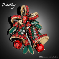 Wholesale Jingle Bell Brooch Pin - Christmas Jewelry Crystal Brooches Rhienstone Wedding Accessories Christmas Jingle Bell Santa Pin Decor Christmas Gifts Bijoux