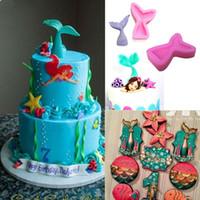 Wholesale gum paste cake - Mermaid Tail Silicone Mold Fondant Cake Mold Cupcake Decorating Tools Kitchen Baking Gum Paste Chocolate Candy Molds IB285