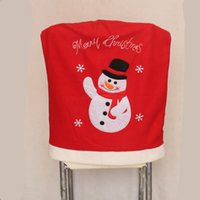 Wholesale dining table chairs cloth resale online - New Design Set Christmas Decoration Supplies Snowman Santa Design Chair Covers Hotel Home Dining Table Chair Ornaments
