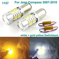 Wholesale Led Light Jeep Compass - Excellent 1157 BAY15D Dual-Color Switchback LED DRL Parking+front Turn Signal light For Jeep Compass 2007-2010 led light