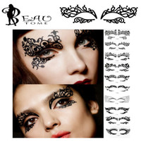 Wholesale Temporary Eye Tatoos - Wholesale- Beautome 1PC Fashion Lace Hollow Eye Shadow Face Stick Eyeliner Stickers Temporary Tatoos Makeup Art Pat Costume Party Nightclub