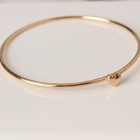 Wholesale Simple Heart Bangle - Classic simple bracelet high quality wholesale sweet heart wish bracelet metal bangle wholesale free shipping
