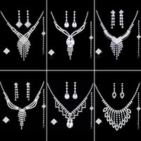 Wholesale Ladies Gift Sets Wholesale - Luxury Shinning Rhinestone Lady Necklace Earring Sets Bridal Accessories Jewelry Set for Women Wedding Party Evening Prom Gift