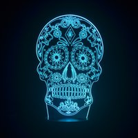 Wholesale Chinese Led Bulbs - Wholesale- Skull 3D illusion Bulb Lamp Chinese LED light fixtures Acrylic plates Creative Changing Veilleuse Enfant Kids Night Lights Lampe