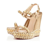 Wholesale Shoes Wedges Platform Rivet - 2017 Summer Style Brand Design Wedge Shoes Women Platform Sandals Red Bottom Rivet Hemp Rope High Heels Ladies Casual Genuine Leather Sandal