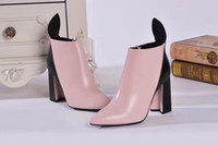 Wholesale Pink Painting Motorcycle - fashionville*u751 40 41 pink genuine leather pointy thick heel short boots luxury designer runway sexy fashion