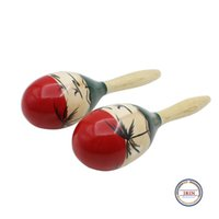 Wholesale Maracas Baby Toy - Wholesale- Kid Baby Wooden Maracas Musical Party Favor Child Shaker Beach Toys Sound Toys