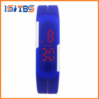 Wholesale Led Colored Watches - 2017 Fashion students Sports rectangle led Digital Display touch screen watches Rubber belt silicone bracelets Wrist Children watches gift