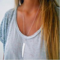 Wholesale Womens Silver Long Necklaces - 2017 New Fashion womens vintage long necklace jewelry silver gold simple feather pendant necklaces colar Jewelry gifts