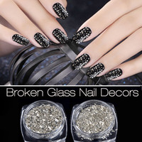 Wholesale Silver Glitter Nails - New Nail Art Glitters Powders 5g box Silver Irregular Broken Glass Flake Creative 3D UV Gel Polish Nail Decoration Tools 2017