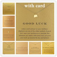 Wholesale White Elephant Charms - With card! Very cute! Silver and gold color Dogear Necklace with different pendant, elephant wishbone karma angel wing, free shipping