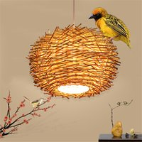 Wholesale country offices - Creative Nest Light Rattan Woven Pendant Light Retro Pendant Lamp Living Room Bedroom Restaurant Country Pendant Lamp Original Brown Color