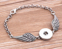 Wholesale Antique Bangle Bracelets - Crystal Angel wings Bracelets Bangles Antique Silver DIY Ginger Snaps Button Jewelry 2017 New Style Bracelets