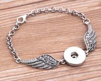ingrosso le ali antiche-3pcs ali di angelo di cristallo braccialetti braccialetti d'argento antico fai da te scatta bottoni gioielli pulsante 2017 nuovo stile braccialetti