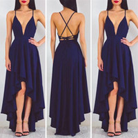 Wholesale Short Cross Back Dress - Sexy Michael Costello Prom Dresses V Neck Spaghetti Straps Satin Backless High Low Cocktail Party Dresses Cheap Navy Blue Evening Dresses