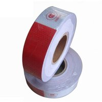 Wholesale Hazard Warning - 45m Red White Adhesive Hazard Warning Caution Safety Conspicuity Reflective Tape Car Stickers