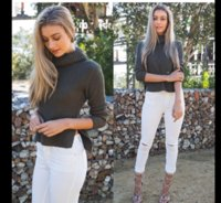 Wholesale Colored Pants For Women - Wholesale- Sexy hole ripped skinny high waisted pencil jeans white trousers leggings pants full length plus size for women womans feminina