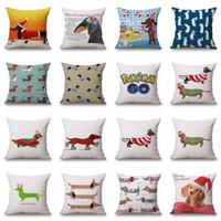Wholesale Sausage Pillows - 45*45cm 2017 Linen Cotton Pillows Dachshund Throw Pillow Case Rainbow Sausage Dogs Custom Cushion cover