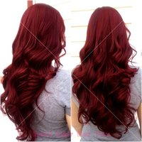 Wholesale Long Cheap Red Hair Wig - Cheap full lace 8A Brazilian virgin human hair wigs red body wave Lace Front Wigs Fashion wave 99j full Lace Wig For Black Women