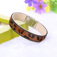 Wholesale horse hair leopard - Wholesale- Hot Fashion Vintage Leopard Leather Horse Hair Bracelet Magnetic Leather Bracelets & Bangles For Women Men Handmade Jewelry