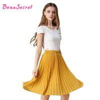 Wholesale Jupe Tutu Femme - Women pleated skirt vintage high waist tutu skirts womens saia midi chiffon skirt rokken 2017 summer style jupe femme