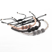 Wholesale 14k Gold Beads 4mm - Wholesale-New Fashion Men Bracelets,24K Gold 4mm Round Beads & 8mm Micro Pave Black CZ Beads Briading Macrame Bracelet Christmas's Gift