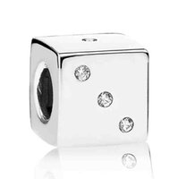 squared lucky - Authentic Sterling Silver Bead Charm Square Lucky Dice With Crystal Beads Fit Women Pandora Bracelet Bangle DIY Jewelry HKA3260