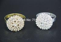 Wholesale Gold Napkin Rings Sale - Wholesale- Hot Sale Gold Silver 12pcs Diamante Napkin Ring Serviette Holder Wedding Decoration Accessories Bridal Shower Party Favor