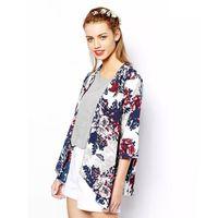 Wholesale Womens Cardigan Kimono Sleeves - Wholesale- Miss Europe 2016 New Fashion Simple Printed Cardigan Jacket Kimono Jacket womens summer clothes Cotton flower jacket