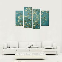 Wholesale Almond Canvas - 4 Pieces Almond Blossom Modern Giclee Canvas Prints Van Gogh's Artwork Wall Art Picture Print with Wooden Framed For Home Decoration