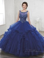 vestido 15 anos 2017 Royal Blue Quinceanera Abiti con maggiore corpetto di perline e Ruffles Gonna Ball Gown Sweet 15 Abito rosso scuro