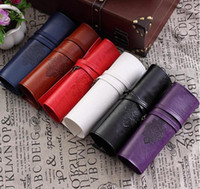 винтажный портмоне портмоне оптовых-Wholesale- 5 Colours Vintage Writing Supplies School Kids Penci  Roll Leather Make Up Cosmetic Pen Pencil Case Pouch Purse Bag