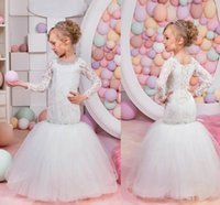 Wholesale Corset Dresses For Party - Long Sleeves Mermaid Flower Girls Dresses For Weddings Beaded Neckline Lace Tulle Corset Little Girls Birthday Party Dresses