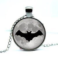 Wholesale Black Bat Pendant - 10pcs lot Gun Black Halloween Necklace Bat Jewelry Art Pendant Glass Photo Cabochon Necklace
